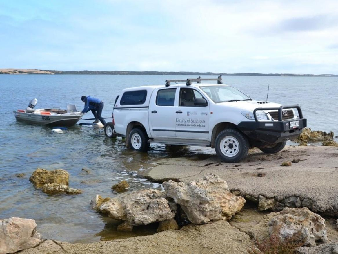Water sampling at the Coorong in South Australia