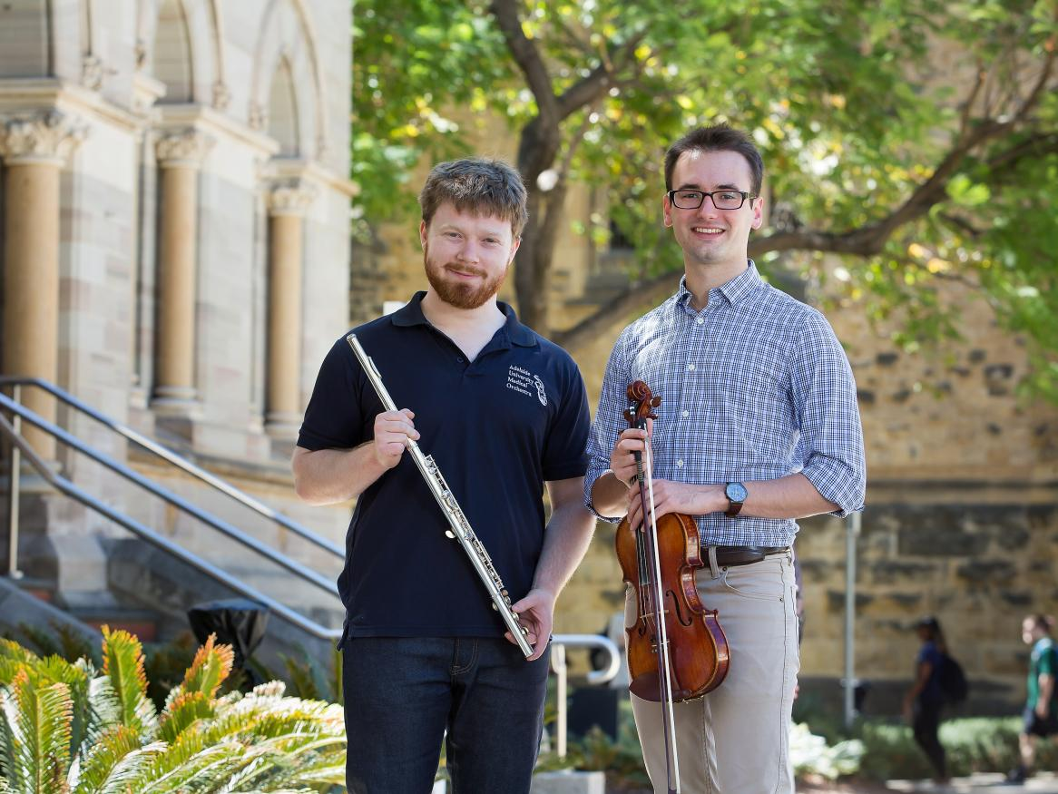 Adelaide University Medical Orchestra's Thomas Johns and Michael Riceman