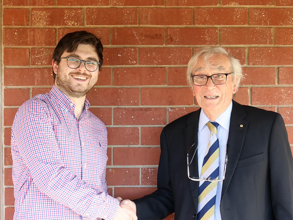 Scholarship recipient Timothy Allen with Emeritus Professor George Rogers AO