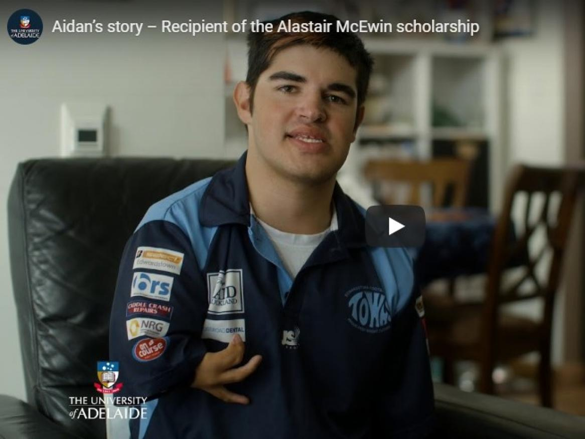Aidan Barry, 2018 Alastair McEwin Scholarship recipient