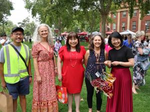 Professor Jacqueline Lo (PVCI) with Student Life staff Brian Lew, Shawna Hooton, Debbie Chua, and Colleen Lewig