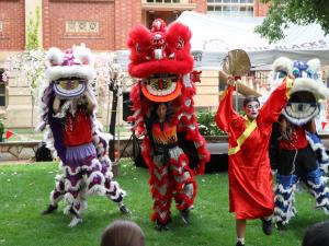 Lion dancers during their performance