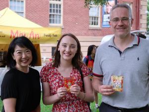 Professor Jacqueline Lo (PVCI) with ECMS staff Katie Tribe and Deputy Dean (International) of ECMS Professor Scott Smith