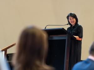 Professor Jacqueline Lo, Pro Vice-Chancellor (International) giving the welcome address