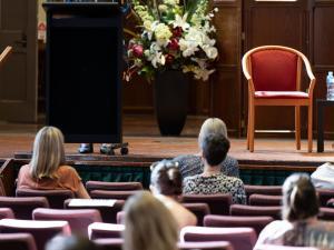 Ms Julie-Ann Guivarra, Australia's Ambassador for Gender Equality, giving her opening address to Elder Hall's audience