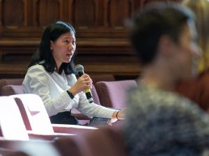 Ms Angela Qin, AUU President, participating in the panel Q&A