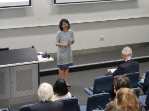 Professor Jacqueline Lo, Pro Vice-Chancellor (International) giving the introduction & acknowledgement