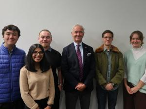 Students from the Politics and International Relations Association (PIRA) with His Excellency Mr Paul Gulleik Larsen, Ambassador of Norway