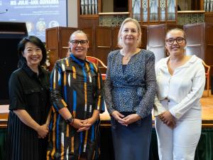 L-R: Professor Jacqueline Lo, UofA; Ms Julie-Ann Guivarra, DFAT; Ms Jodie Hatherly, Santos; Ms Grace Mayor, UofA