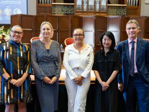 L-R: Ms Julie-Ann Guivarra, DFAT; Ms Jodie Hatherly, Santos; Ms Grace Mayor, UofA; Professor Jacqueline Lo, UofA; Professor Peter Høj AC, UofA
