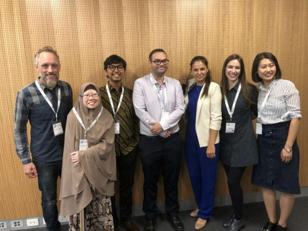 Participants in the AARES Three Minute Thesis Competition. (L-R: Matthew Wysel Rahma Ma'mun, Rida Akzar, Constantin Seidl, Alfinura Sharafeyeva, Livia Padilha and Nikki Zhang)