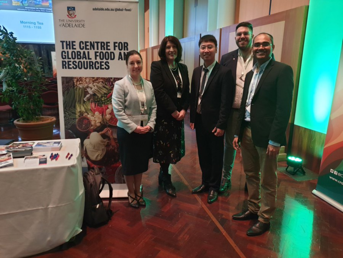 CGFAR at Crawford Fund Conference 2019. From left to right: Prof. Sarah Wheeler, Prof. Wendy Umberger, Duc Nguyen, Jack Hetherington, and Rohan Yargop