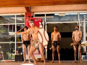 Paitya Dance Group, led by Karl Winda Telfer (Senior Kaurna Cultural Custodian), performing at the launch of the Tarrkarri Tirrka: Aboriginal and Torres Strait Islander Education Strategy, November 2013.