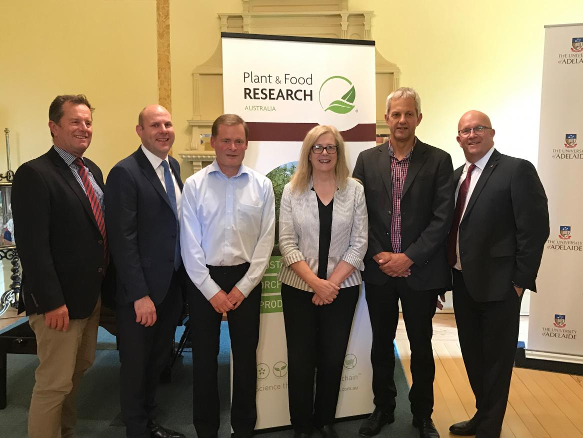 From left to right: Hon Tim Whetstone MP, SA Minister for Primary Industries and Regional Development; Mr Sam Duluk MP, Member for Waite; Professor Peter Rathjen, Vice-Chancellor and President, The University of Adelaide; Professor Caroline McMillen, SA Chief Scientist; Dr Gavin Ross, Group General Manager, Marketing and Innovation, Plant & Food Research; Hon David Ridgway MLC, SA Minister for Trade, Tourism and Investment.