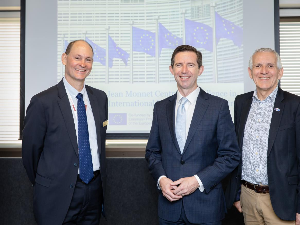 Professor Peter Draper, Senator the Hon Simon Birmingham, and Professor Richard Pomfret