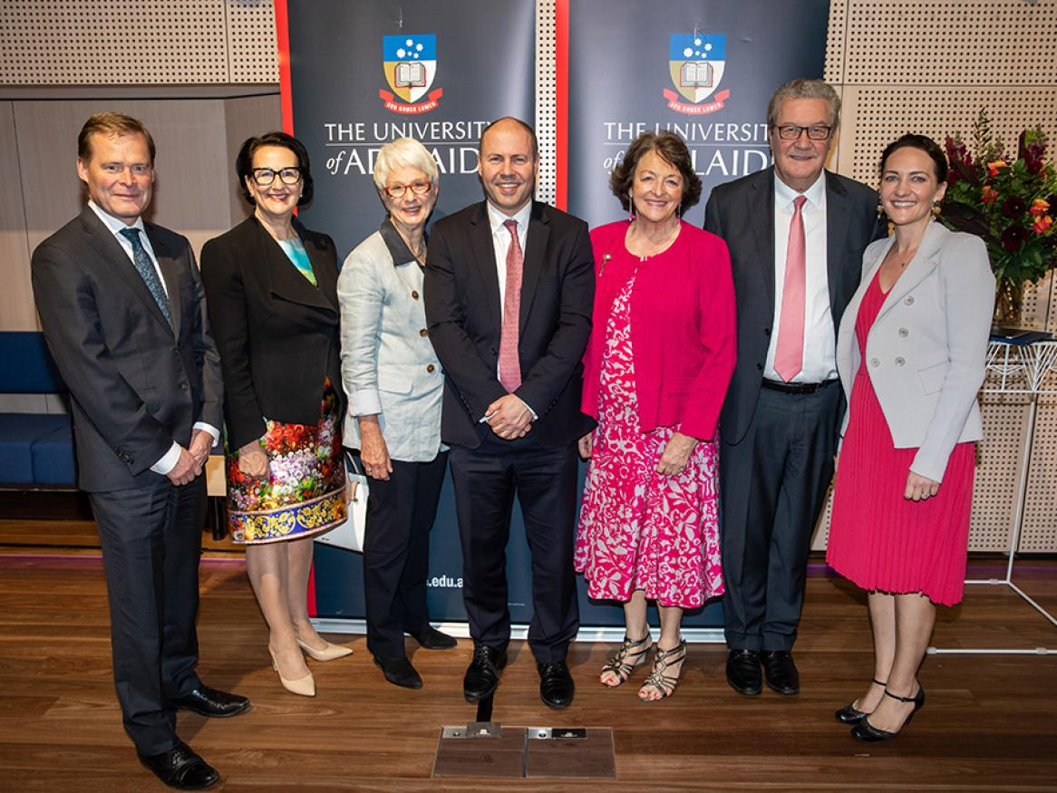 Pictured: Professor Peter Rathjen AO, Vice-Chancellor and President; Hon Vickie Chapman MP, SA Deputy Premier and Attorney-General; Hon Cathy Branson AC QC, Deputy Chancellor; Hon Josh Frydenberg MP Treasurer of Australia; Nicky Downer AM; Hon Alexander Downer AO; Georgina Downer.