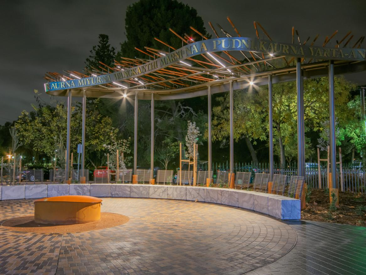 Image of Kaurna Learning Circle lit up at night