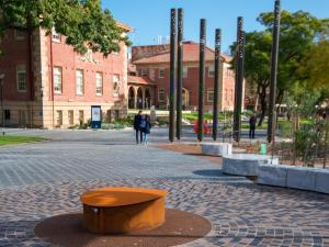 Kaurna Learning Circle and paving on Western Drive