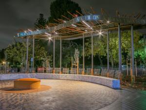Kaurna Learning Circle lit up at night