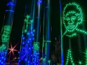 Close up of Kaurna poles lit up at night