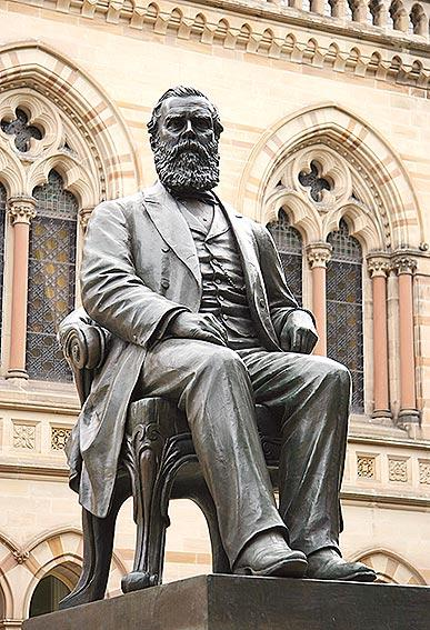 Bronze sculpture of Sir Walter Watson Hughes in front of the Mitchell Building. Sculpture by Francis John Williamson (1833-1920)