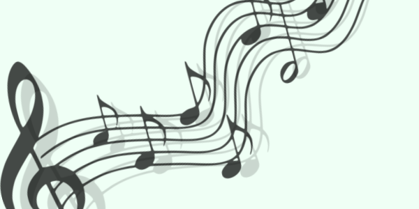 music notes on a green background