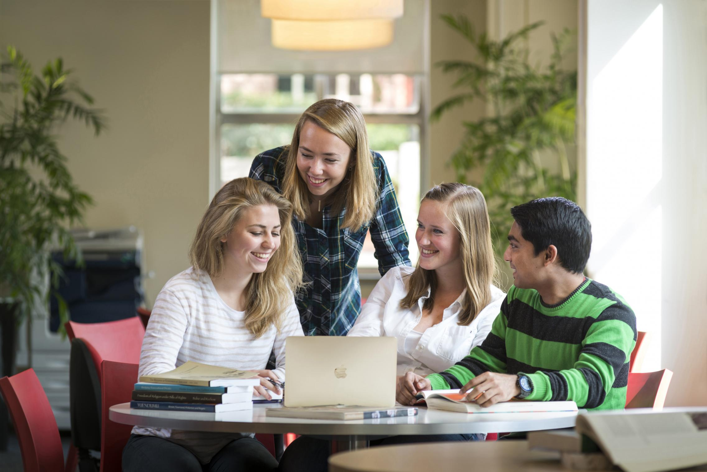 Happy students studying in the Barr Smith Library