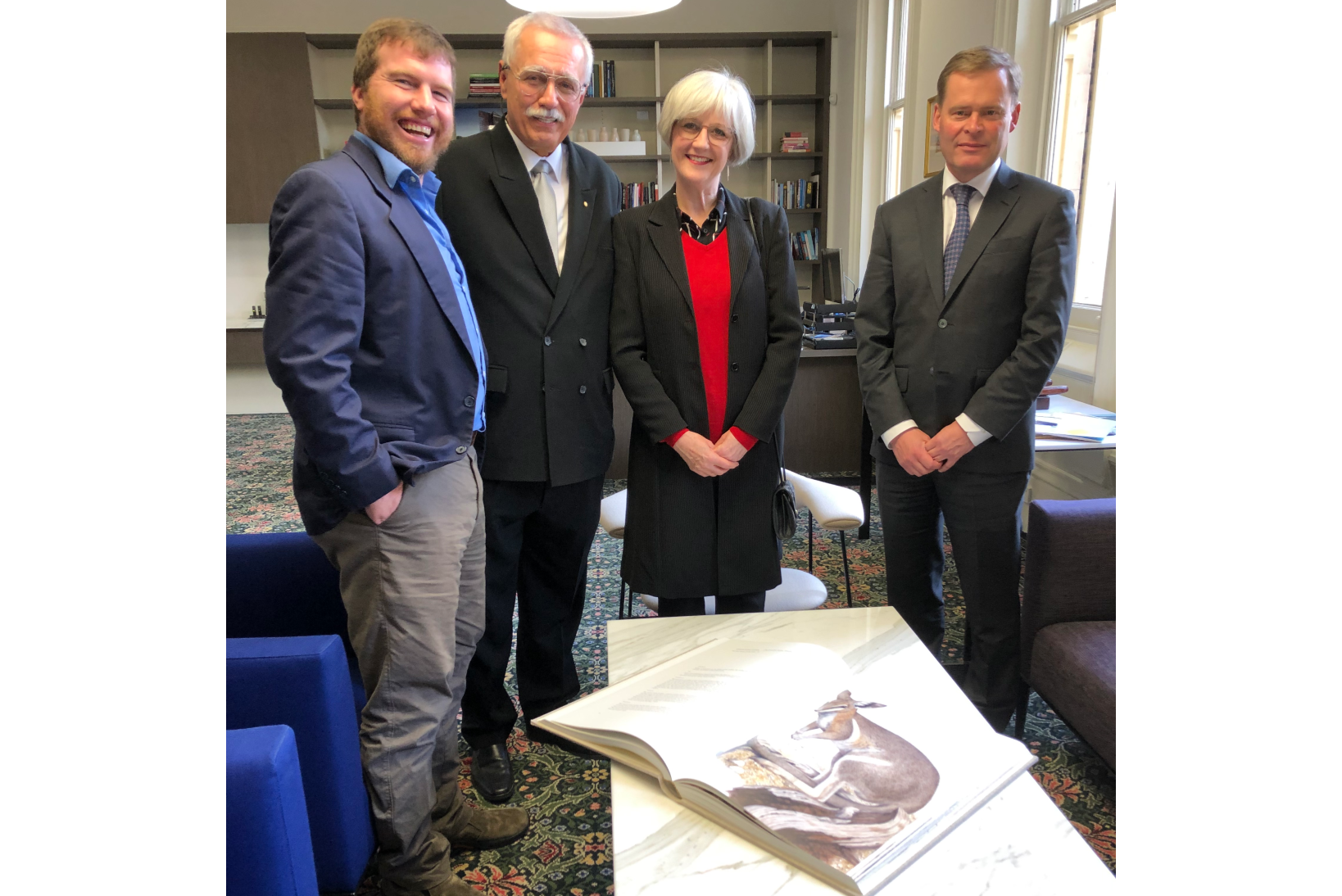 Professor Kristofer Helgen, Philip Wollen OAM, University Librarian Teresa Chitty, and University Vice-Chancellor Peter Rathjen