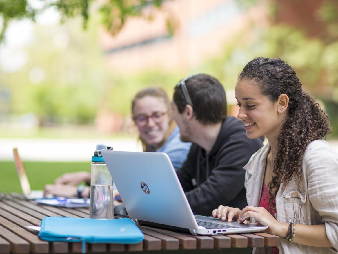 Three students happily studying outside on a warm spring day