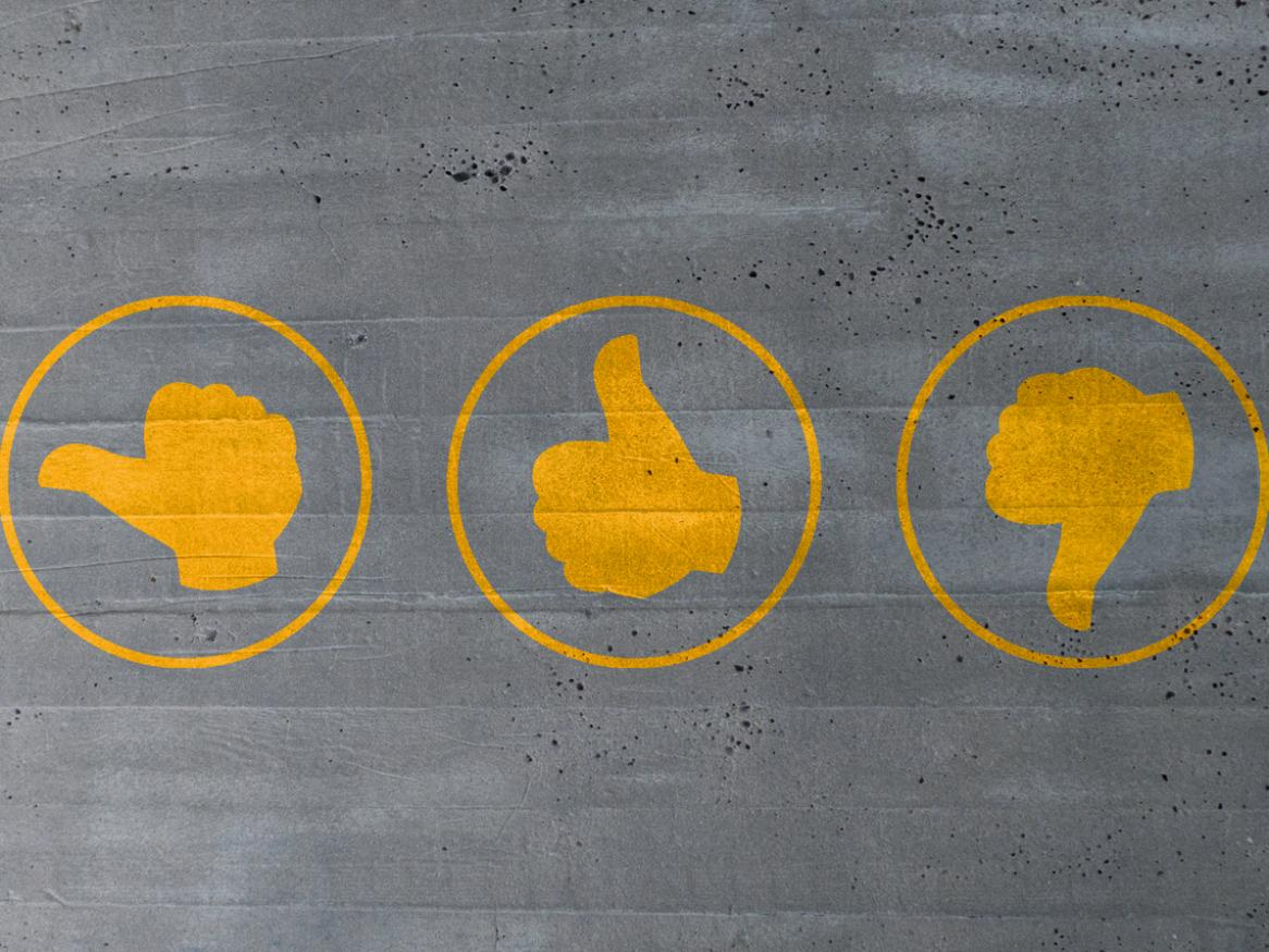 Image of thumbs up, thumbs down, and thumbs neutral