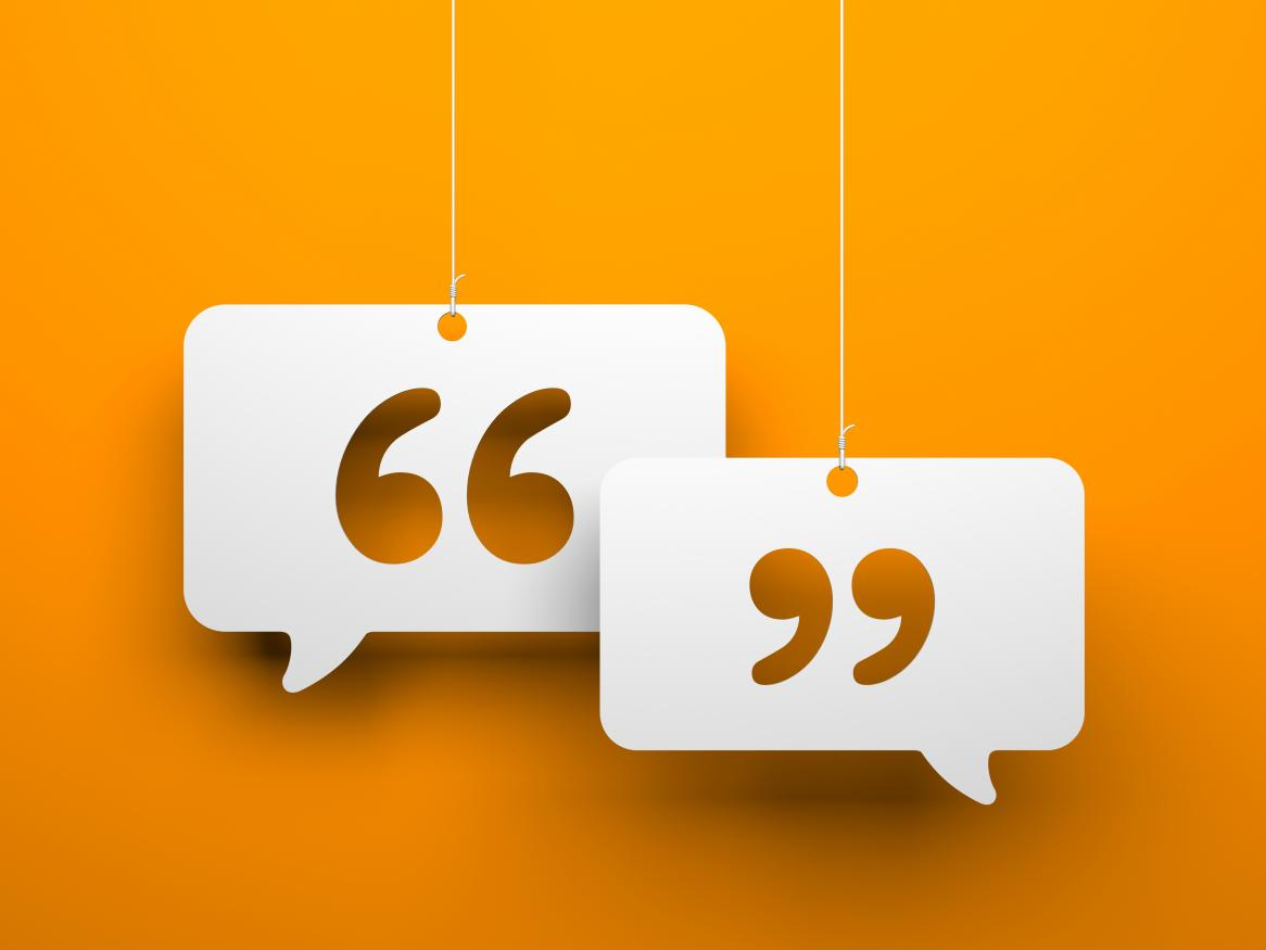 Two speech bubbles with quotation marks on a bright yellow background