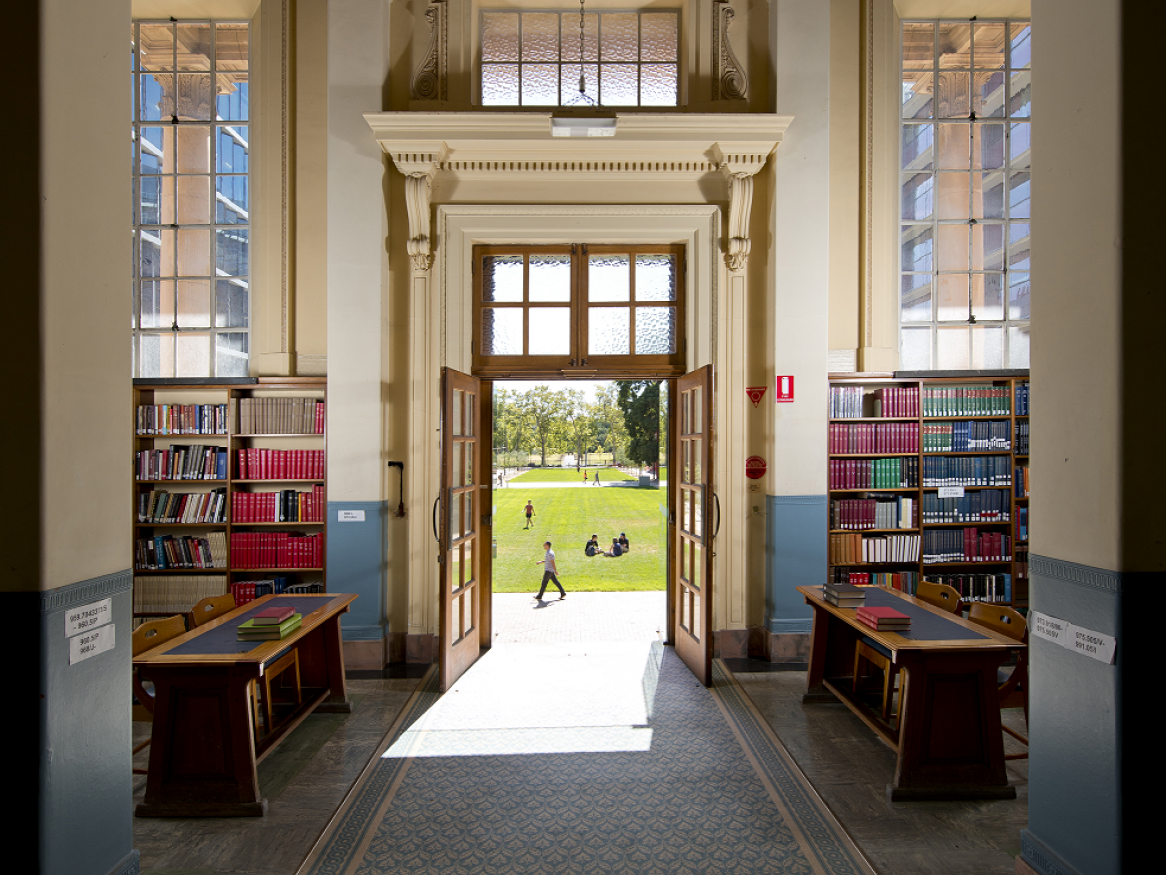 reading room doors open to math lawns