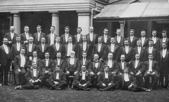Adelaide choral group, possibly the Adelaide Glee Club, 1912. Williamson is in the centre of the seated row.