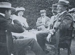 "W.H. Bragg, Gwendoline Bragg, Professor Bensley, Professor George Cockburn Henderson E.C. Stirling at Stirling's ""St. Vigeans"" home, undated."