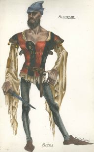"""Henry IV"" costume drawing taken from the theatre manuscript collection of Lady Angel Symon, undated."