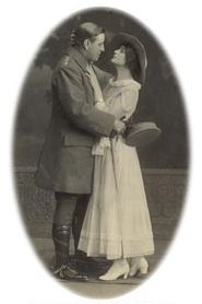 "Allan Wilkie and Frediswyde Hunter-Watts as Captain Fielding and Lady Heather in ""Seven Days Leave"", 1917"