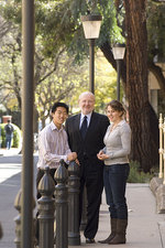 Vice-Chancellor and President Professor James McWha with two of the scholarship recipients, Mechatronic Engineering student Christopher Lee and Veterinary Science student Stephanie Warwick. PHOTO JOHN HEMMINGS