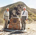 Reg Sprigg and Sir Mark Oliphant unveiling a commemorative cairn at Arkaroola.