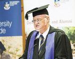 1959 graduate and Rhodes Scholar and former Australian National University Vice-Chancellor, Emeritus Professor Deane Terrell AO, gives the Golden Jubilee address. PHOTO JOHN HEMMINGS