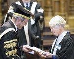 1959 Arts (Hons) graduate Margaret Southwood receives her Golden Jubilee certificate from the Chancellor, the Hon. John von Doussa QC. PHOTOS JOHN HEMMINGS