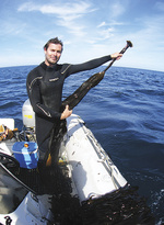 Dr Daniel Gorman pictured off the coast of Brittany in France.