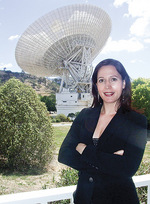 Dr Kimberley Clayfield at the Canberra Deep Space Communication Complex, managed by CSIRO Astronomy and Space Science on behalf of NASA's Deep Space Network.