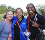 Magdalena (centre) with her mother and US tennis great Venus Williams at the London Olympic Village.