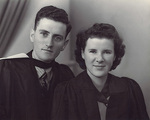 Professor Bourne on his graduation day in 1949 with his twin sister Margaret (now Ewins), who graduated from Adelaide Teachers College at the same time.