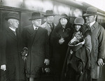 I.G. Reimann (Maude's first professional teacher); German Pianist Wilhelm Backhaus, J. Gravestock, Maude Puddy, Mrs. Backhaus, E. Harold Davies (Elder Conservatorium Director). June 1930, Adelaide Railway Station.