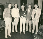 From left to right, Dr Gerald Laurence, Dr Harry Medlin, Professor Graham Nerlich, Dr George Mayo, and Professor Donald Stranks, Vice-Chancellor, at a Theatre Guild production.