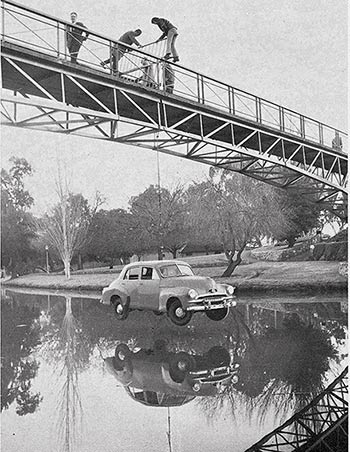 Prosh Day prank at University Footbridge, 1971