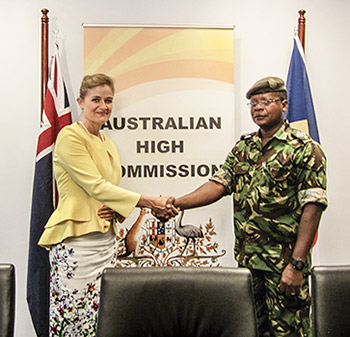 High Commissioner Coles presenting funding to <br />Seychelles Anti-Piracy support team Commander