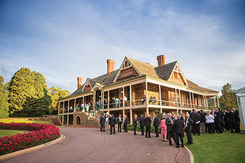 Guests at Urrbrae House celebrating the 100th anniversary of Peter Waite's gift to the University