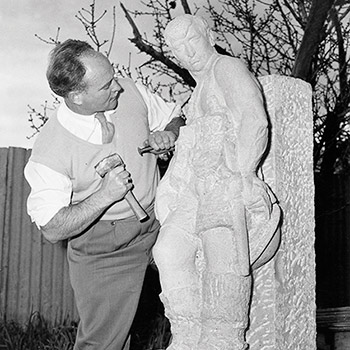 John Dowie carving The Soldier (photo from Tracy Lock-Weir's book John Dowie: A Life in the Round (Wakefield Press)